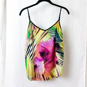Tropical Floral Camisole With Adjustable Straps